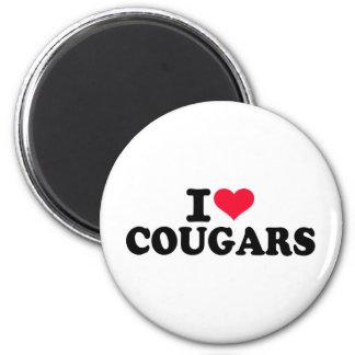 I love Cougars Fridge Magnets