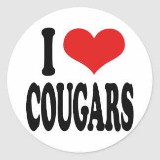 I Love Cougars Round Stickers