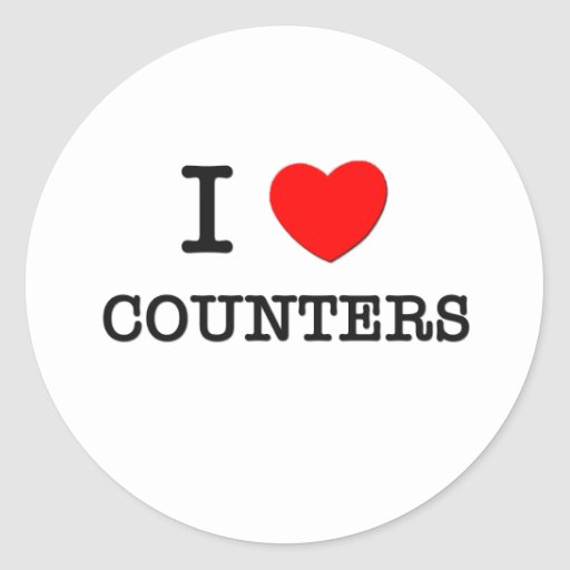 I Love Counters Round Sticker