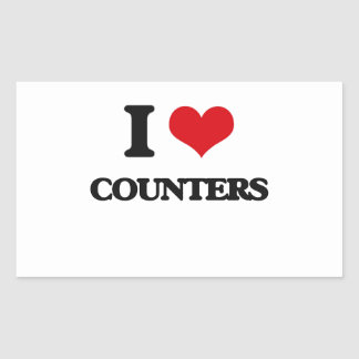 I love Counters Rectangular Stickers