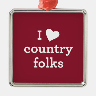 I Love Country Christmas Ornament
