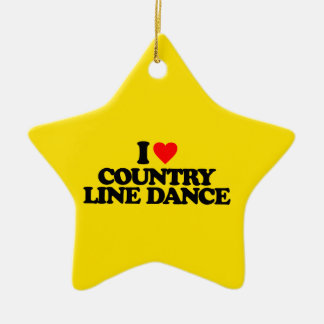 I LOVE COUNTRY LINE DANCE CERAMIC STAR DECORATION