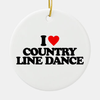 I LOVE COUNTRY LINE DANCE ROUND CERAMIC DECORATION