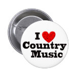 I Love Country Music 6 Cm Round Badge