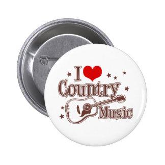 I Love Country Music 6 Cm Round Badge