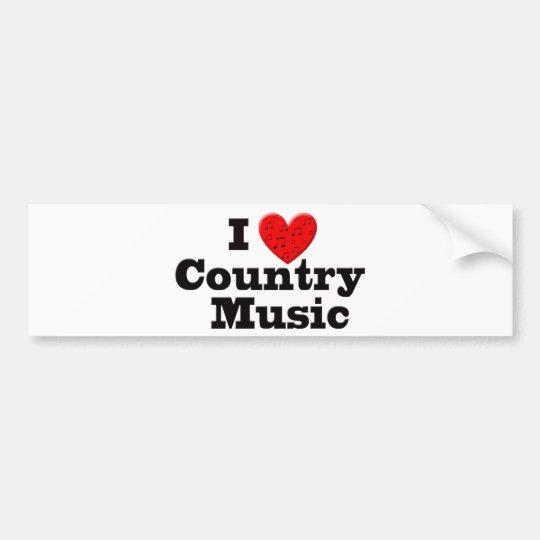 I Love Country Music Bumper Sticker