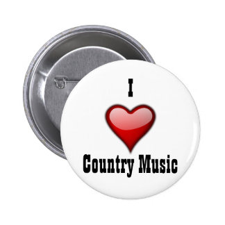 I Love Country Music Button