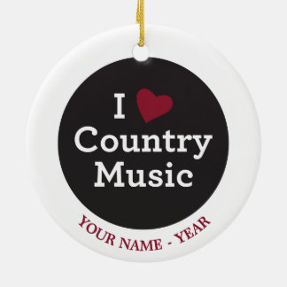 I Love Country Music Christmas Ornament