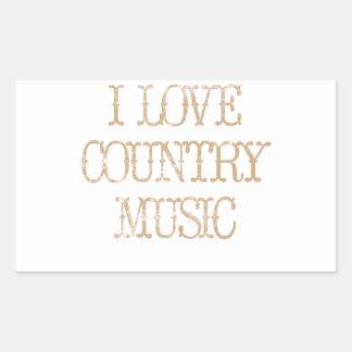 I Love Country Music Rectangular Sticker