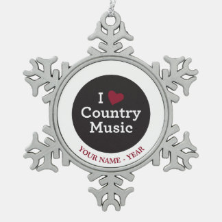 I Love Country Music Snowflake Pewter Christmas Ornament