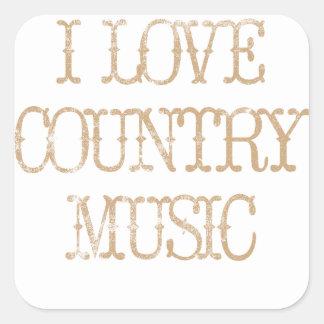 I Love Country Music Square Sticker