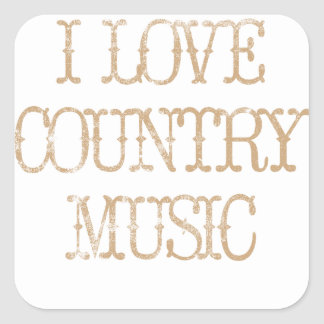 I Love Country Music Square Stickers