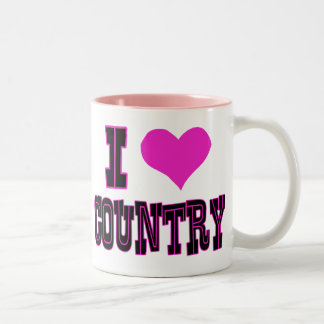 I Love Country Two-Tone Coffee Mug
