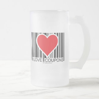 I Love Coupons Frosted Glass Mug
