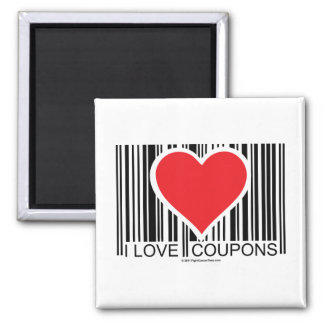 I Love Coupons Square Magnet