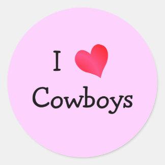 I Love Cowboys Classic Round Sticker
