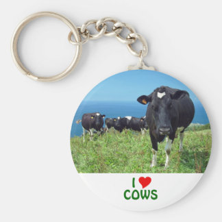 I Love Cows Basic Round Button Key Ring