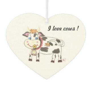 I love cows custom heart car air freshener