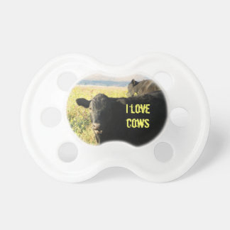 I Love Cows Cute Western Black Cattle Calves Baby Pacifiers