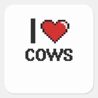 I love Cows Digital Design Square Sticker