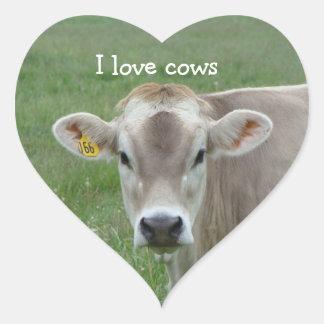 I Love Cows Heart Sticker