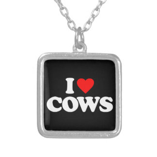 I LOVE COWS SILVER PLATED NECKLACE