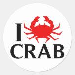 I Love Crab Classic Round Sticker