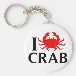 I Love Crab Keychain