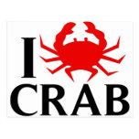 I Love Crab Postcard