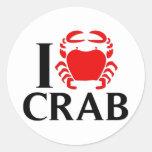 I Love Crab Round Stickers