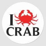 I Love Crab Stickers