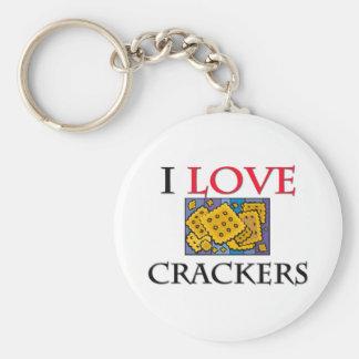 I Love Crackers Basic Round Button Key Ring