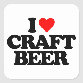 I LOVE CRAFT BEER SQUARE STICKERS