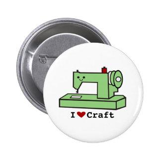 I Love Craft- Kawaii Sewing Machine 6 Cm Round Badge