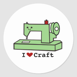 I Love Craft- Kawaii Sewing Machine Classic Round Sticker