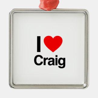 i love craig square metal christmas ornament
