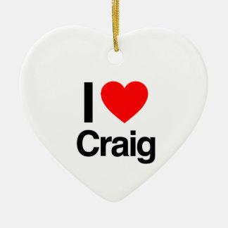 i love craig Double-Sided heart ceramic christmas ornament