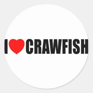 I Love Crawfish Round Sticker