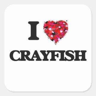 I love Crayfish Square Sticker