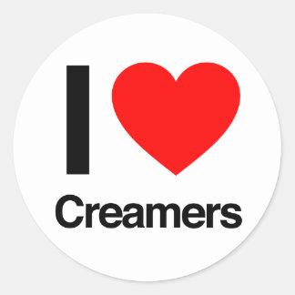 i love creamers round sticker