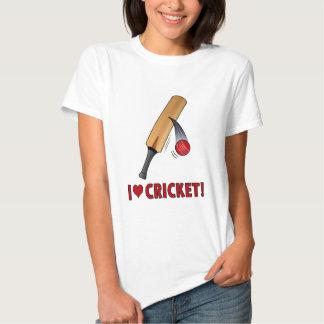 I Love Cricket Bat and Ball T Shirts