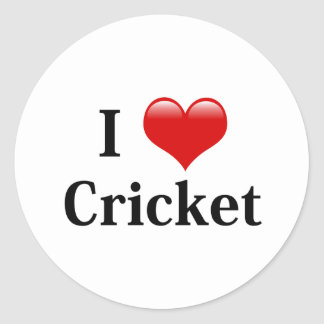 I Love Cricket Classic Round Sticker