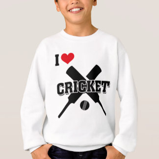 I Love Cricket, Crossed bats and ball, Cricket Sweatshirt
