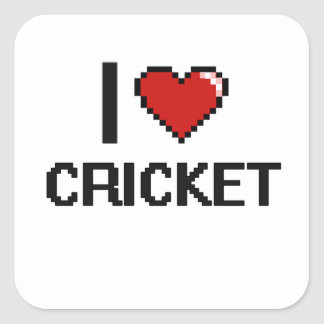 I Love Cricket Digital Retro Design Square Sticker