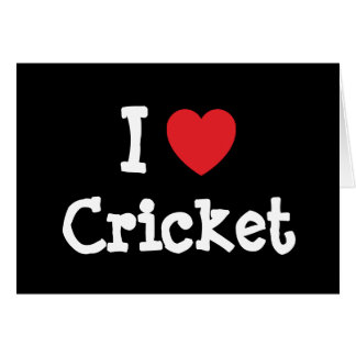 I love Cricket heart custom personalised Greeting Cards