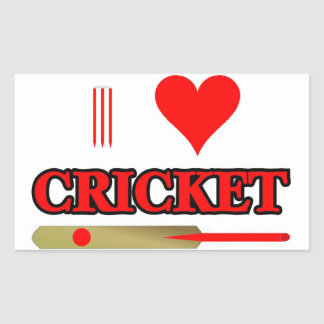I Love Cricket Rectangular Sticker