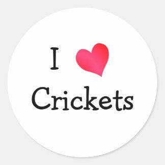 I Love Crickets Classic Round Sticker