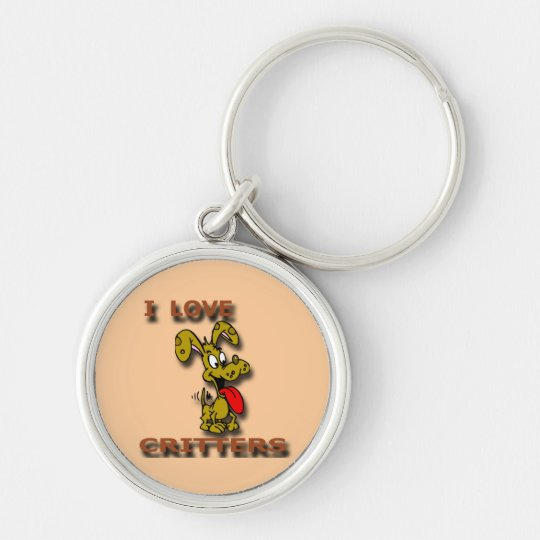I Love Critters D Silver-Colored Round Key Ring