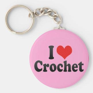 I Love Crochet Basic Round Button Key Ring