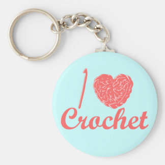 I Love Crochet Keychain